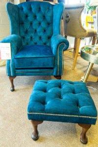 Queen Anne chair, vintage, Comfortable, footstool, funiture navan, Ireland, Living room furniture