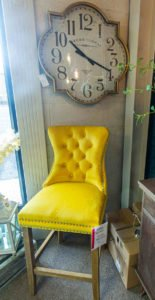 Chair, modern, vintage, clock, gold, big, fabric, funiture navan, Ireland, Living room furniture