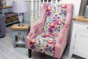 chair, armchair, flower, design, fabric, leather, soft, comfortable, furniture, Ireland, Navan,
