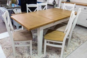 Table, chairs, wooden, oak, white, extandable, fabric, leather, kitchen, dining, furniture, Navan, Ireland