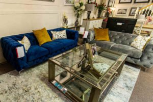 sofa, blue, navy, grey, yellow, modern, classic, glass table, sitting room, living room, cosy, furniture, Ireland, Navan