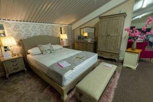 Bedroom, set, bed, chest of drawer, chair, mirror, bedside locker, wardrobe, table, lamp, mattress